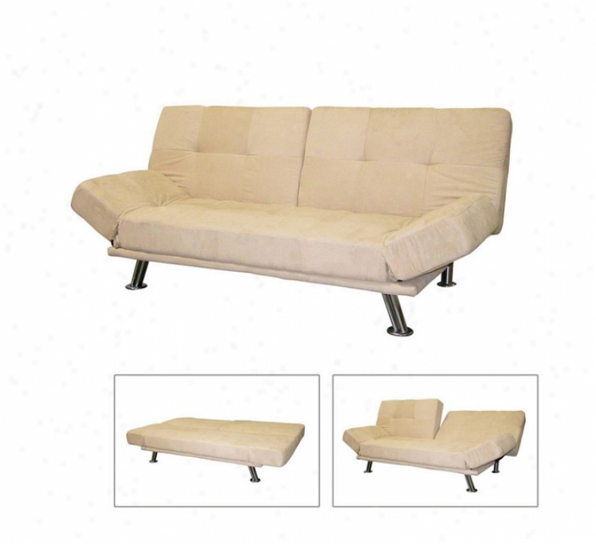 Futon Sofa Bed With Camel Cover And Metal Frame