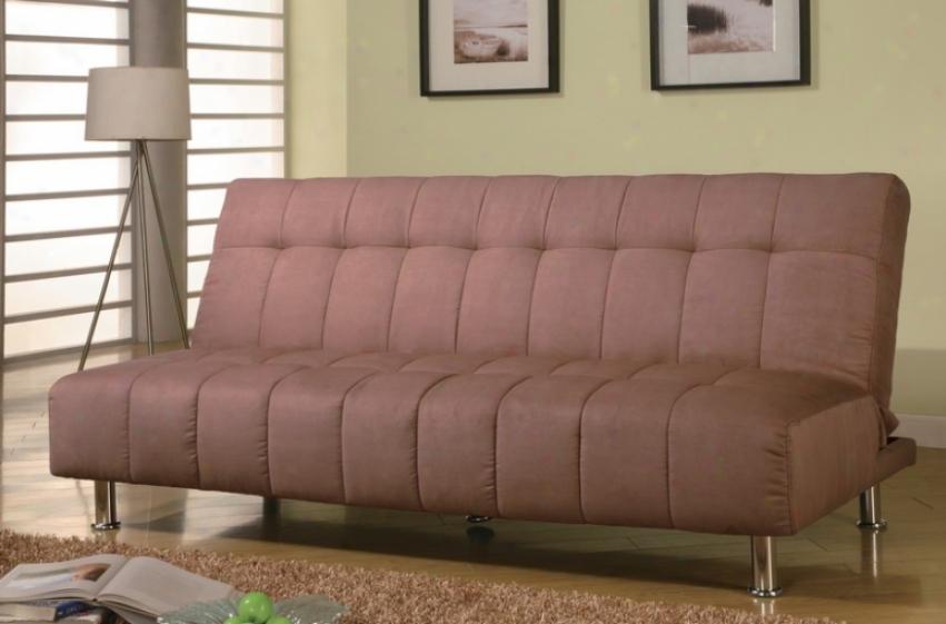 Futon Sofa Bed With Metal Legs In Tan Microfiber