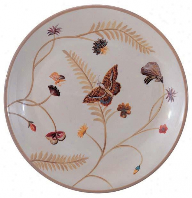 Hand Painted Porcelain Plate In Cream - Floral And Butterfly