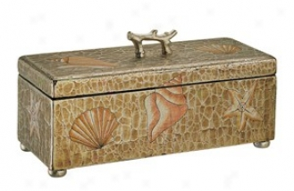Hand Painted Storage Box In Antique Brown - Seashell