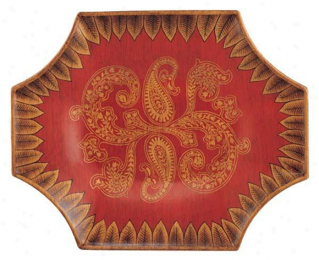 Handc5aftwd Octagon Porcelain Plate In Paisley Pattern