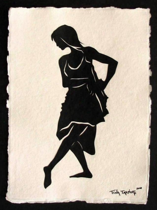 Handmade Papercut Art - Dancer Isadora Duncan Silhouette