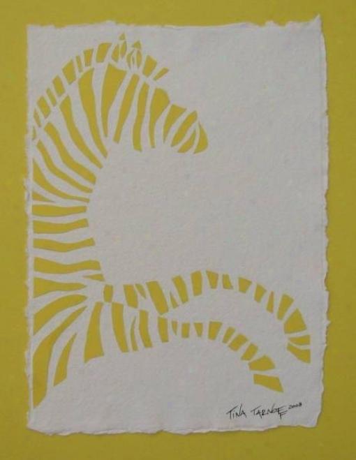 Hamdmade Papercuf Art - I Dreamt I Was Riding A Yellow Zebra