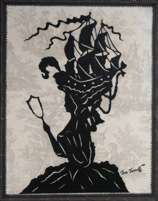 Handmade Papercut Art On Toile Fabric - Marie Antoinette On Large Scale