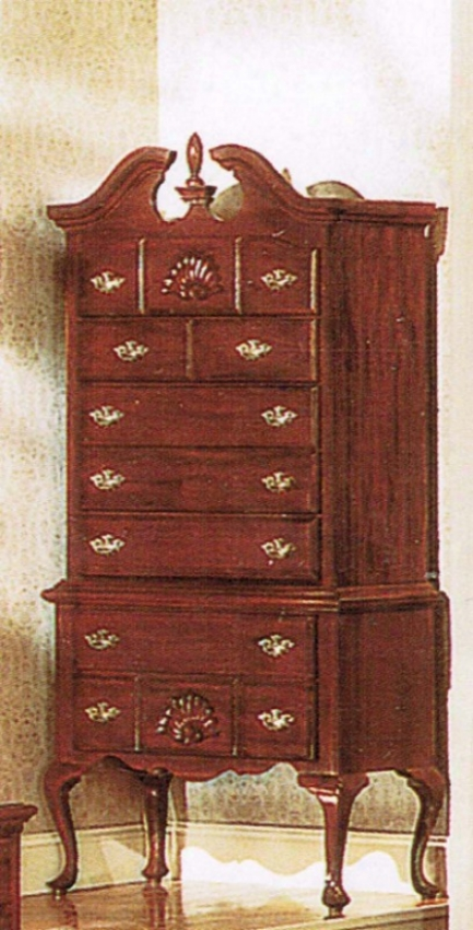 High Boy Chest With Queen Anne Style Legs Cherry Finish