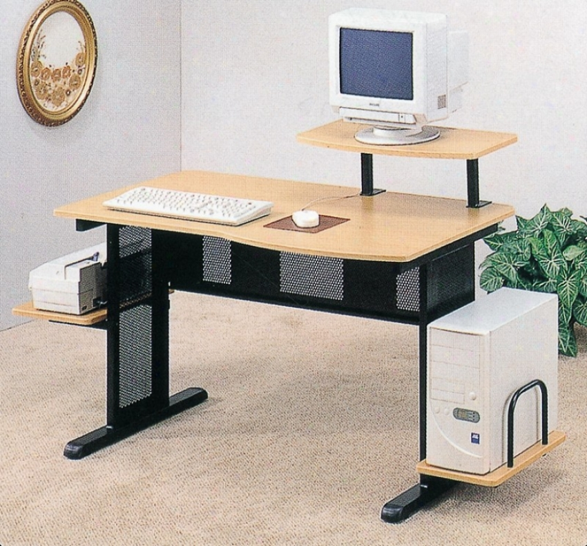 Home Office Black/beech Finish Compute rDesk Workstation W/printer Dock