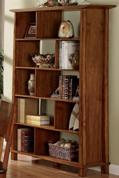 Home Office Bookcase In Light Brown Finish