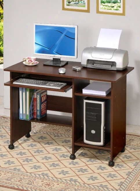 Home Office Computer Desk Contemporary Style In Dark Walnut