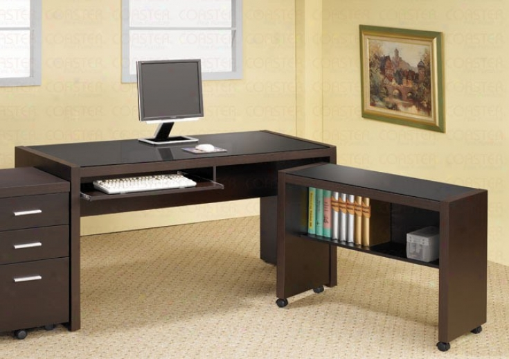 Hme Office Computer Desk With Cart In Cappuccino Finish
