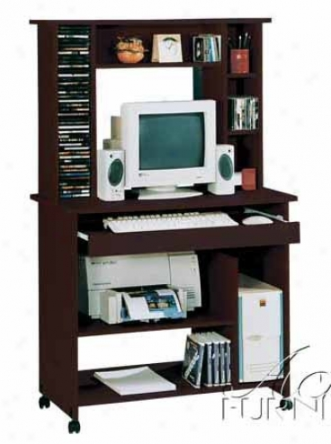 Home Charge Computer Desk With Hutch In Espresso Finish