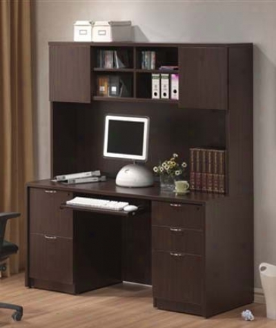 Home Office Desk With Hutch Mahogany Finish
