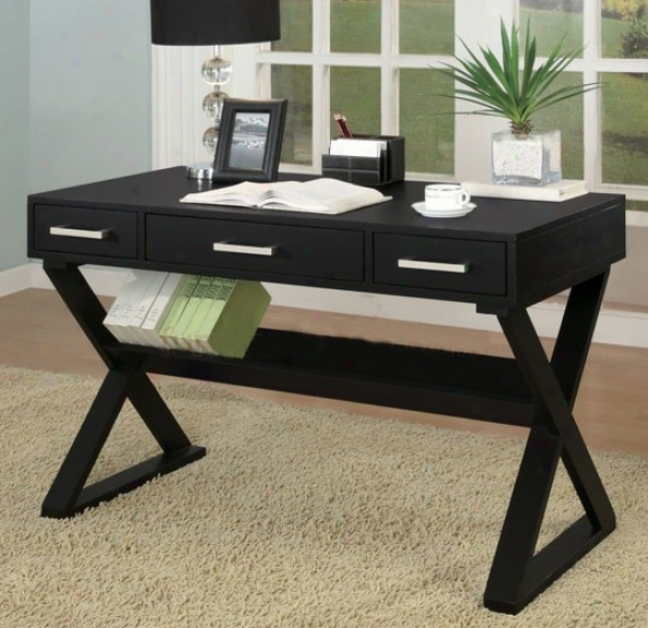 Homee Office Desk With Triangular Legs In Black Finish