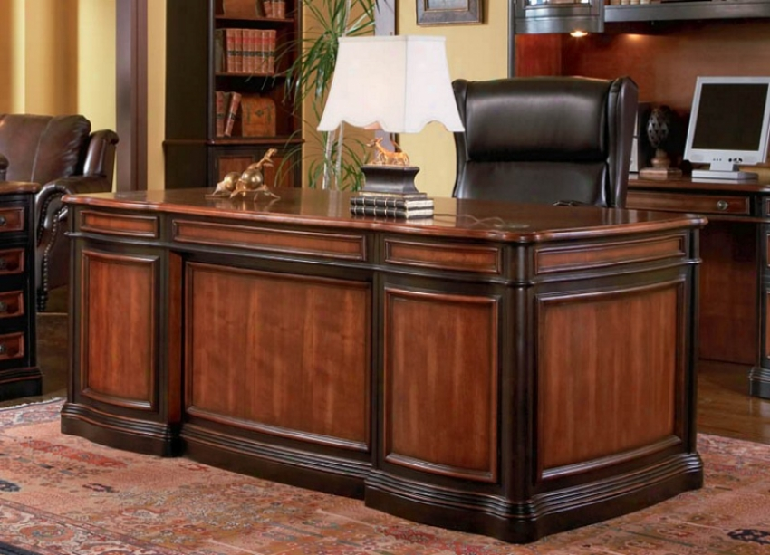 Home Office Executory Desk In Two Tone Warm Brown Finish