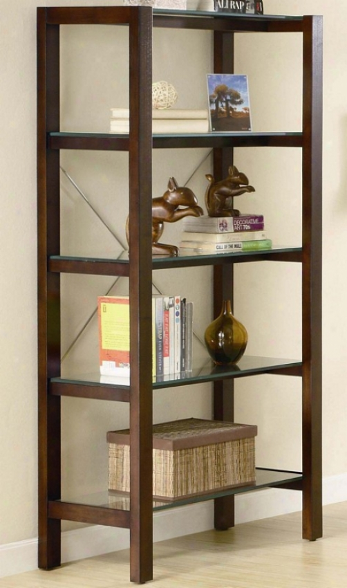 Home Office Glass 4-tier Bookcase In Warm Dark Wood Finish
