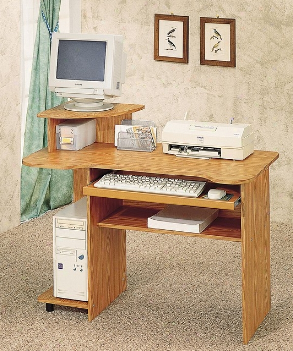 Home Office Oak Accomplish Computer Desk W/sliding Keyboard Tray + Tower Stand