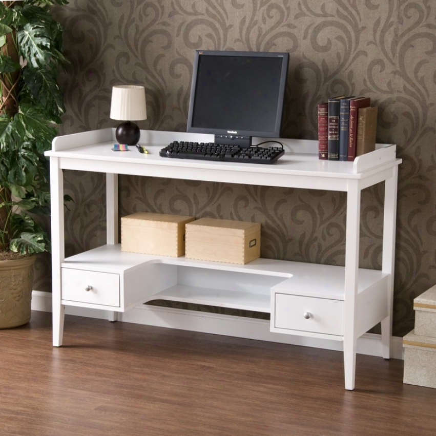 Home Office Writing Desk Lower Shelf And Drawers In White