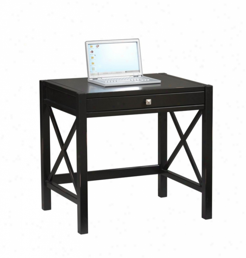Home Office Writing Laptop Desk In Antique Black Finish
