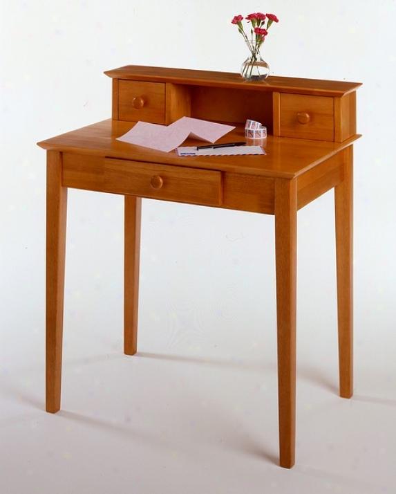 Honey Pine Finish Home Office Secretary Writing Desk