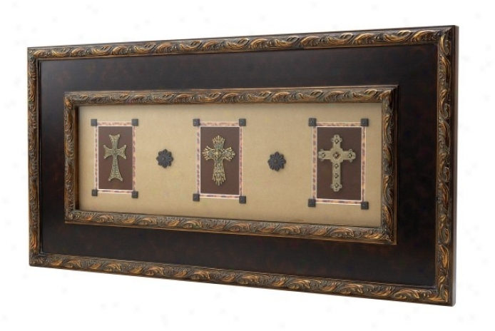 Horizontal Shadowbox With Framed Crosses Design