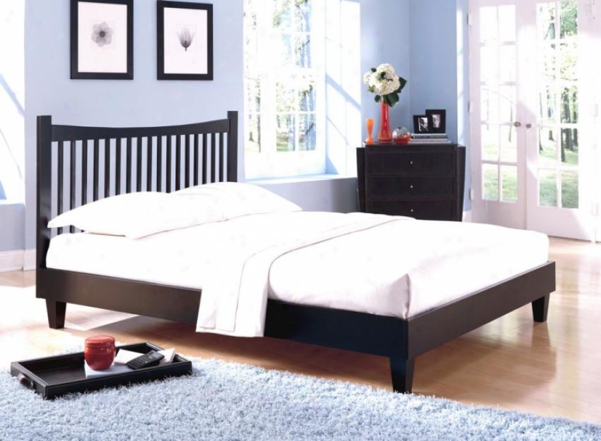 Jakarta Black Finish King Size Solid Wood Bed