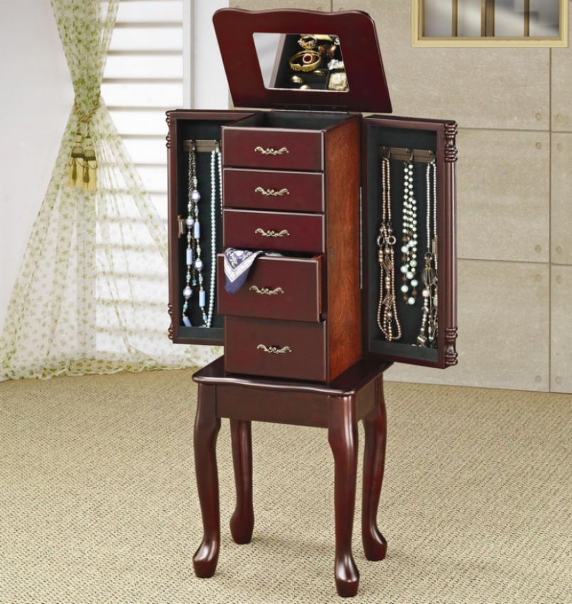 Jewelry Armoire Queen Anne Style Cherry Finidh