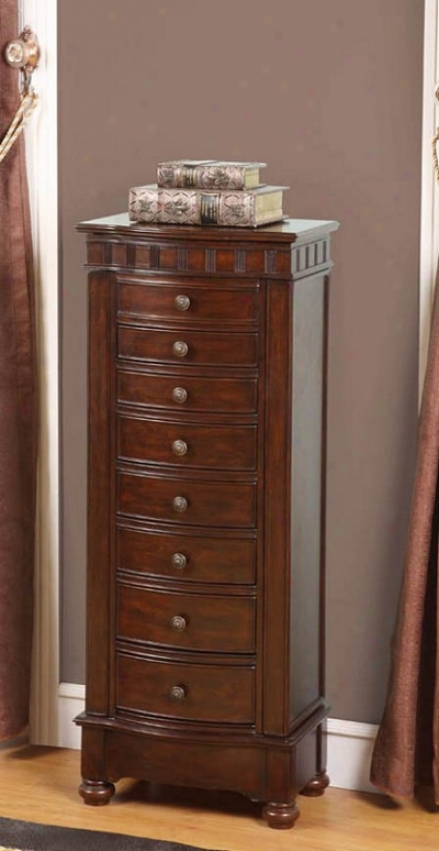 Jewelry Armoire With Bronze Handles In Coffee Finish