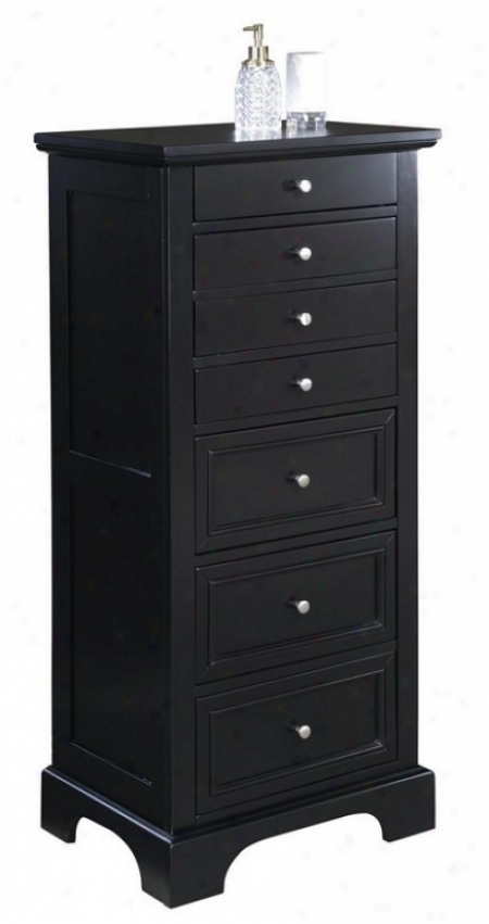 Jewelry Armoire With Chrome Handles In Ebony Finish