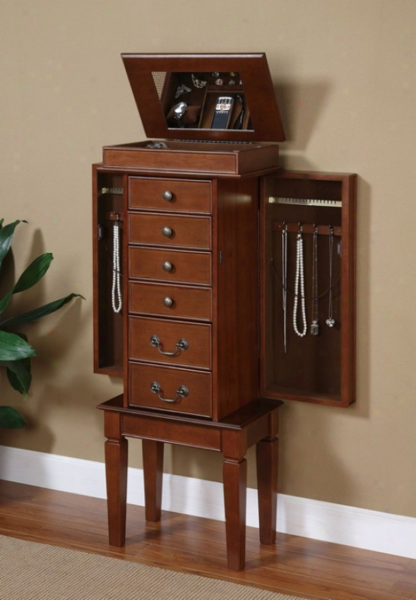 Jewelry Armoire With Contemporary Style In Walnut Finish