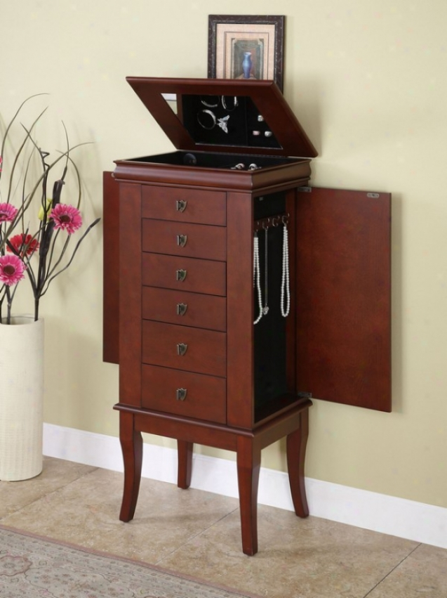 Jewelry Armoire With Flip Top Mirror In Marquis Cherry Finish