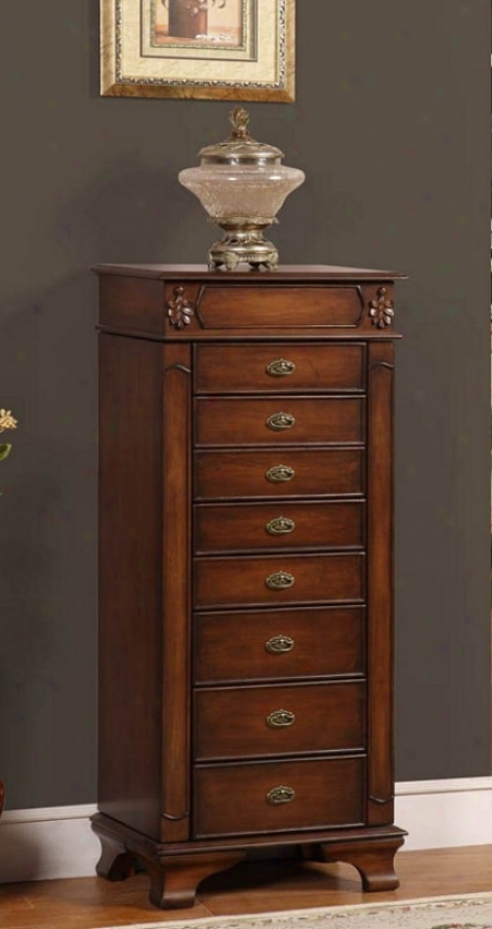 Jewelry Armoire With Leaff Carvings In Coffee Finish