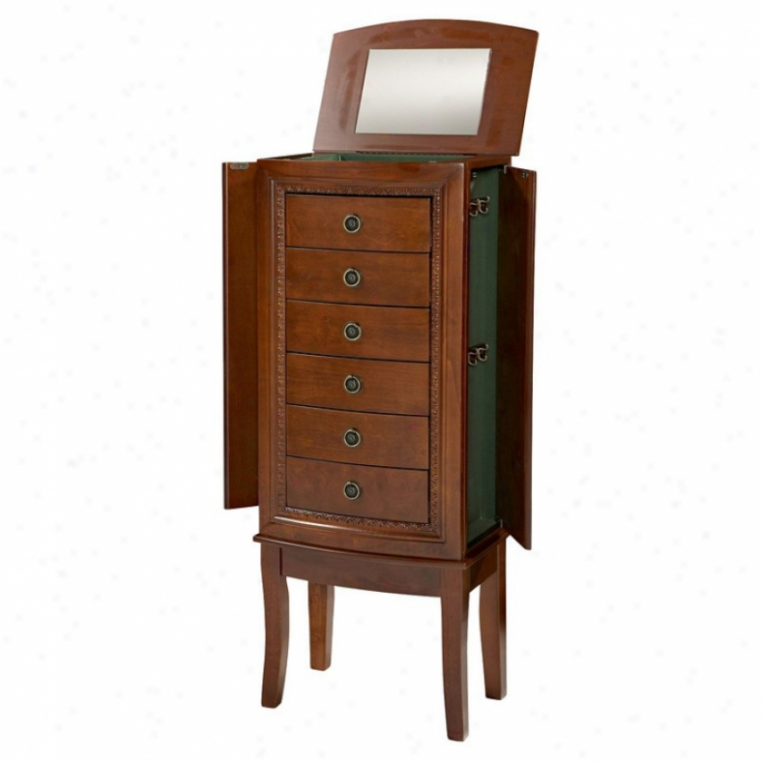 Jewelry Armoire With Six Drawers In Espresso Finiah