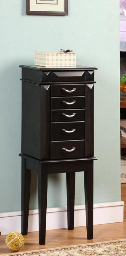 Jewelry Amoire With V-shaped Handles In Black Finish