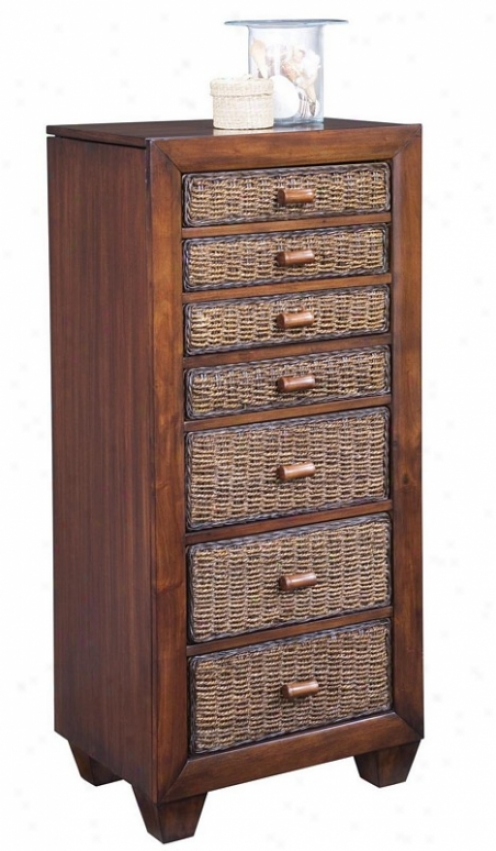 Jewelry Armoire With Woven Drawers In Cocoa Finish