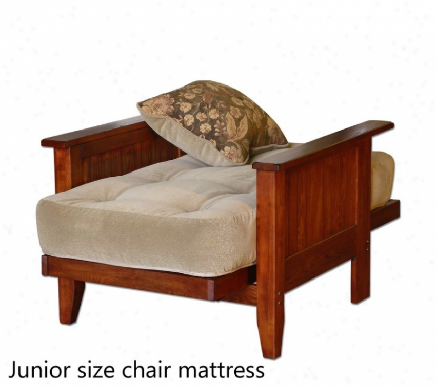 Junior Size Chair Mattress With Pillpw Tufted In Sand Microfiber