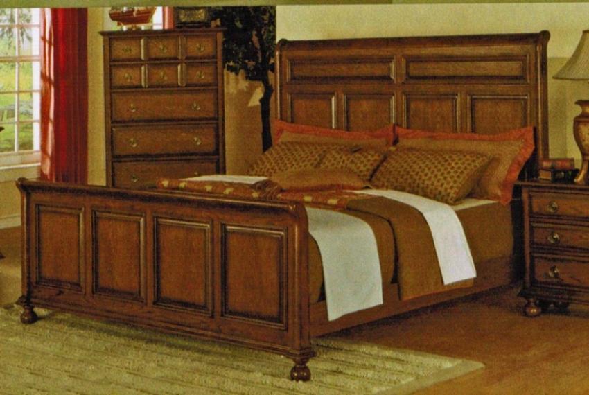 Kin Suze Bed In Mellow Oak Finish