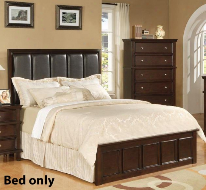 King Size Bed With Faux Leather Headboard In Rich Cappuccino Finish