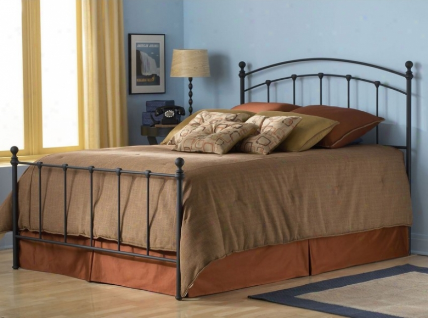 King Size Metal Bed With Frame - Sanford Transitional Design In Matte Black Finish