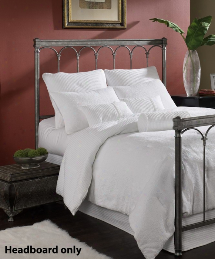 King Size Metal Headboard - Romano Traditional Design In Solver Gleam Finish