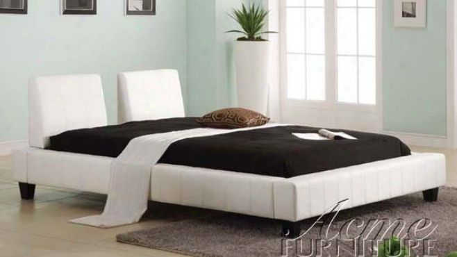 King Sizing Platform Bed In White Bycast Leather