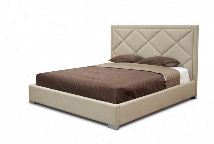 King Sizee Platform Bed With Diamond Quilted Headboard In Beige Linen