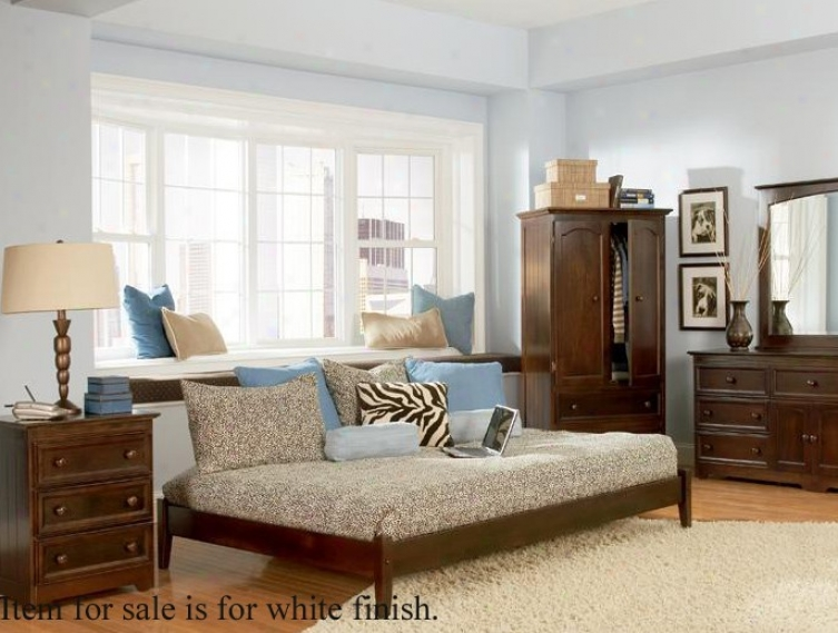 King Size Platform Bed With Open Footrail Whiye Finish