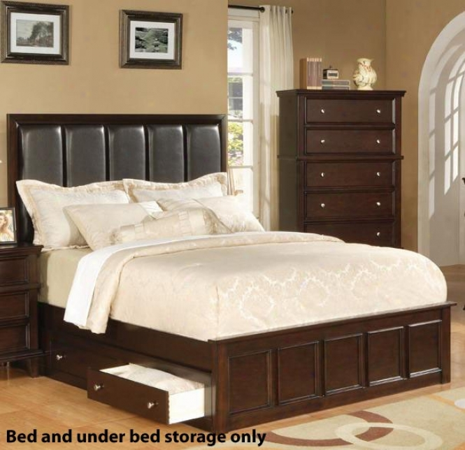 King Size Platform Bed With Undsr Bed Storage In Rich Cappuccino Finish