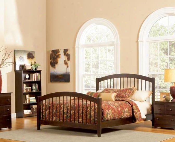 King Size Windsor Style Platform Bed With Footboard Antique Walnut Finish