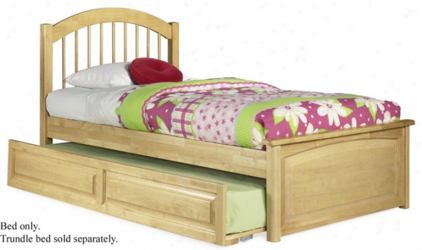 King Size Windsor Style Platform Bed Wuth Raised Panel Footboard Natural Maple Finish