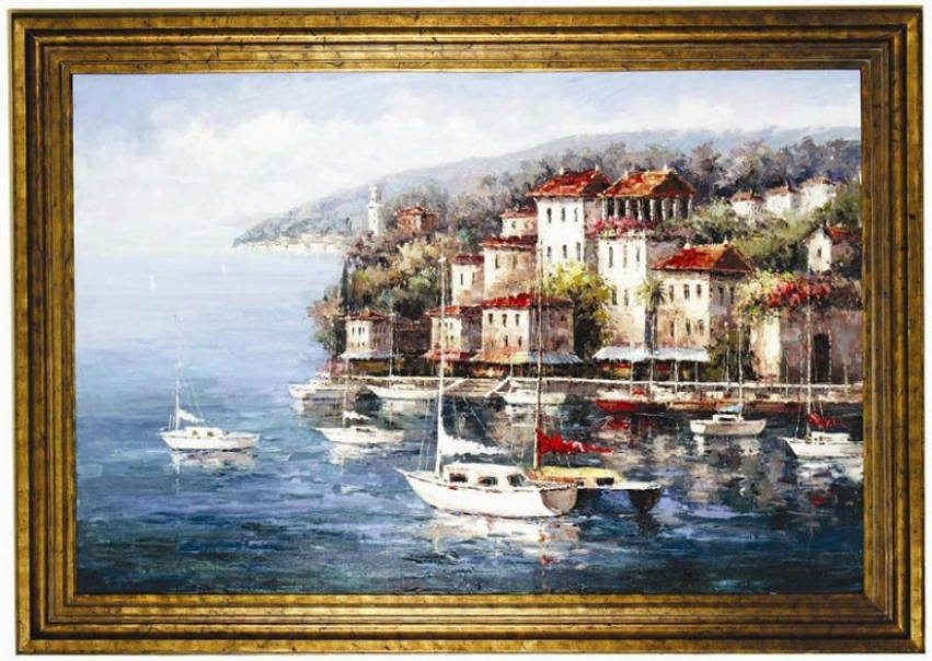 Large Hand Painted Oil Painting On Canvas With Frame