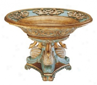 Large Rsin Bowl In Copper And Blue Finish - Swan