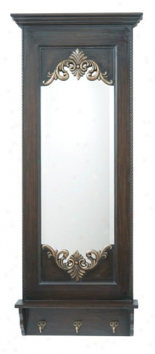 Ledge Style Mirror With Hooks In Dark Brown Stained Finish