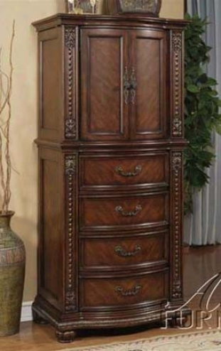 Lingerie Bedroom Chest With Carved Accemts In Brown Cherry End
