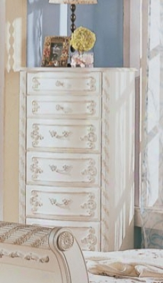 Lingerie Chest With Gold Accents In White Pearl Finish
