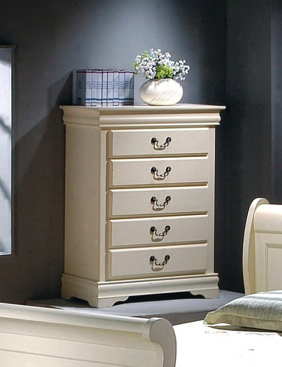 Louis Philip Design Antique White Finish Solid Wood Chest rDesser W/5 Drawers